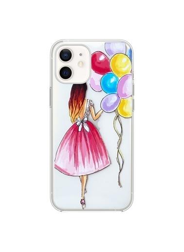 Microsonic Microsonic iPhone 11 Balonlu Kız Desenli Yarı Şeffaf Telefon Kılıfı Renkli